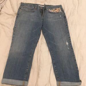 Distressed boyfriend cropped Joe's jeans